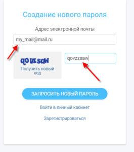 вводим почту и код